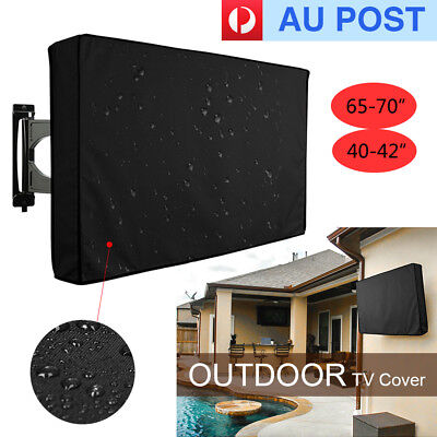"""65-70""""/ 40-42"""" Waterproof Black TV Cover Outdoor Patio Flat Television Protector"""