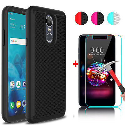 For LG Stylo 4/Stylus 4/Q Stylus Shockproof Hybrid Case + Glass Screen Protector