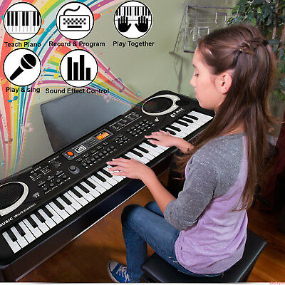 Music Keyboard 61 Keys Digital Electric Piano Musical With Microphone Kids Gift