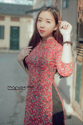 Spring Flowers Ao Dai Authentic Traditional Handmade Vietnamese With Pink Pants