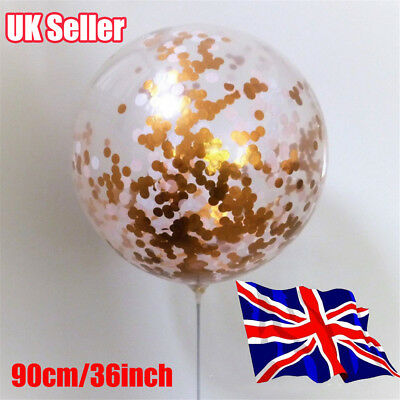 GIANT 90CM 3ft Confetti Balloon Large Clear Gold Glitter Baby Shower Wedding