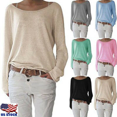 Women's Long Sleeve Solid Loose Tops Casual Crew Neck Blouse T Shirt Pullover US