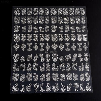 8827 108Pcs DIY Decoration Tools 3D Silver Flower Nail Art Stickers Decals Stamp