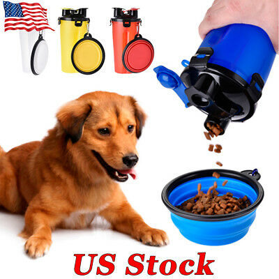 US Dog Feeder Water Food Dog Bottle Pet Bowls Travel Supplies  Dish Cup Outdoor
