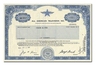 All American Television, Inc. Stock Certificate (Baywatch)