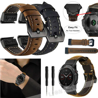 Quick Easy Fit Genuine Leather Watch Band For Garmin Fenix 3 / 5 / 5X Plus / S60