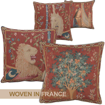 French Tapestry Throw Pillow Cover Lady and Unicorn Lion Tree Medieval Red Woven