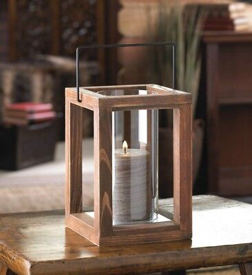 Lot of 12 Rustic Country Stained Wood Garden Pillar Candle Lanterns