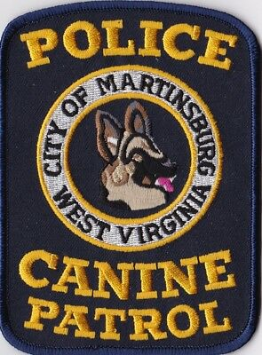 City of Martinsburg K9 Canine Patrol  Police Patch West Virginia WV