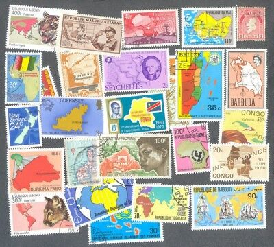 Maps-100 all different collection stamps
