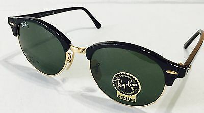 NWT Ray-Ban RB4246 901 Clubround Black Frame Green Classic 51mm Lens  Sunglasses aa8313106c07