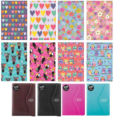 2019 Diary A5 Day To Page Diary & Pen Assorted Designs Organiser, Magnetic Clip