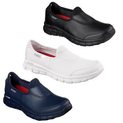 Womens Skechers Relaxed Fit Sure Track Leather Slip On Work Shoes