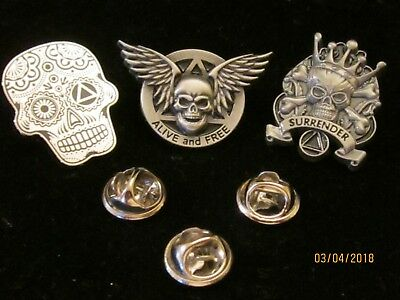 A.A., Alcoholics Anonymous, Lapel Pin, Hat,  Recovery Gift - set 0f 3