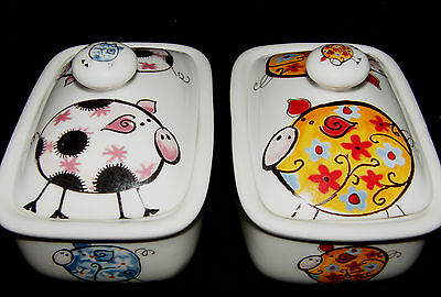 BN Funky Pig Bone China Butter Dish, Uk Made China, Pig Gift, Butter Dish