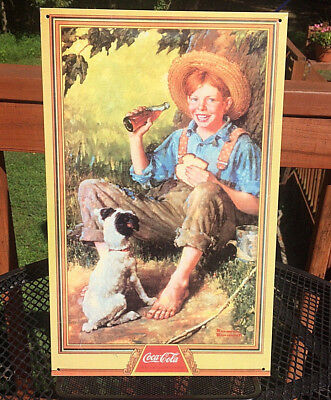 VINTAGE Coca-Cola Drink Metal Sign Coke Norman Rockwell Boy Dog FREE SHIPPING!!!