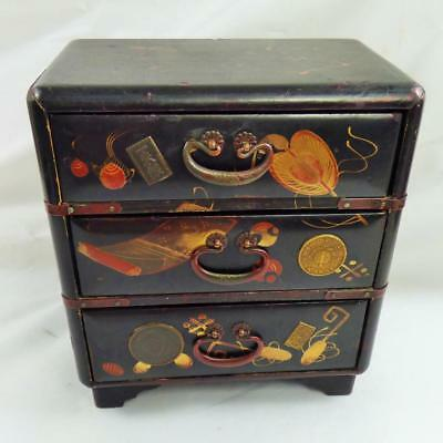 ANTIQUE JAPANESE Lacquer BOX KANAI MINIATURE CHEST of DRAWERS c1900