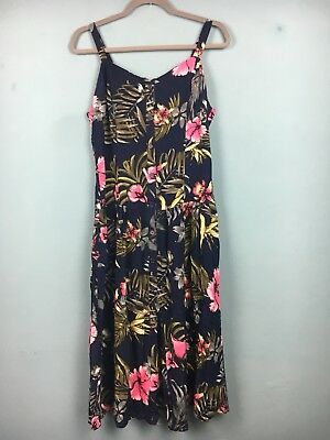 Joe Browns Navy Navy Pink Floral Button Up Strappy Midi Dress Size 12 - B41