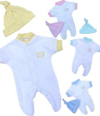 BabyPrem Premature Baby Sleepsuit & Hat Set Preemie Outfits Clothes 1-3.5lbs