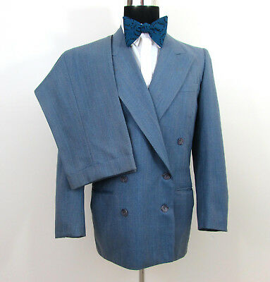 Vintage 1949 Mens Gray mini stripe Double Breasted Suit 40 chest