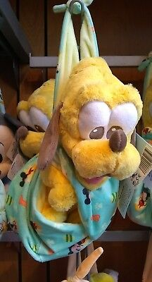 Disney Parks Baby Babies Pluto the Dog in a Pouch Blanket Plush Doll Nwt