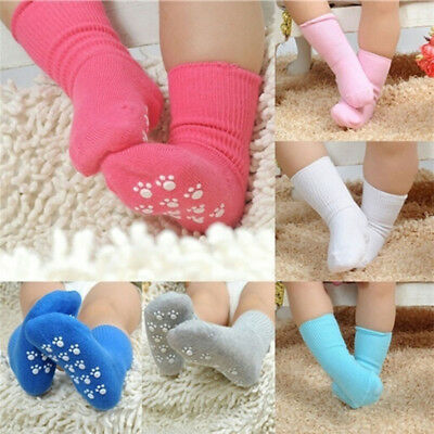Baby Kids Unisex Non-Slip Turn Cuff Cotton Socks Cute Kids Socks (S M L) Pip