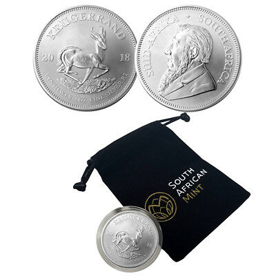 2018 South Africa 1 oz Silver Krugerrand Uncirculated Coin