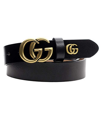 GGenuine Leather Thin Belts Fashion Womens GG Logo Pattern For Jeans 1.18''NEW