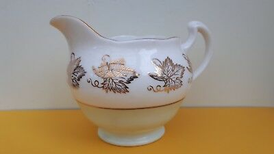 Royal Vale Bone China Milk/Cream Jug with Gold Vine Leaves  - mint green / white