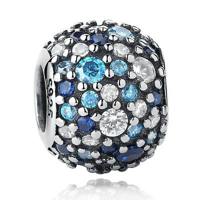 925 Silver Sterling Blue crystal Pave Ball Mosaic Charm Fits European bracelet