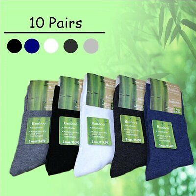 10 Pairs Men's Bamboo Fibre Socks Work Odor Sweat Resistant Natural Comfortable