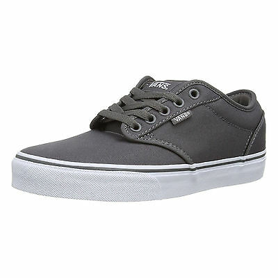 VANS Atwood Mens Canvas Skater Trainers Plain Shoes Lace Up Plimsolls Grey White