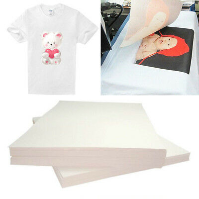 20×Iron On T-shirt Light Fabric A4 Heat Transfer Paper Kit for Inkjet Printer