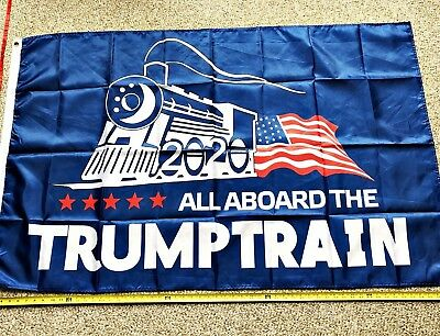Donald Trump Flag FREE SHIPPING TRUMP TRAIN BLUE 3x5' 2020 Make America Great