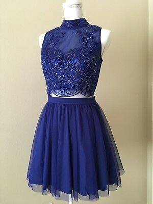Prom Homecoming Dress Size 5 - JCPenney Love Reign - Royal Blue - Two Pieces