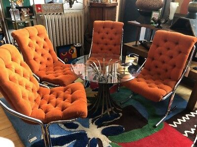 4 Mid Century Daystrom Orange Dining Lounge Chairs EUC