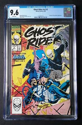 Ghost Rider v2 #5 1990 - CGC 9.6 + reader copy - Punisher appearance - WHITE pgs