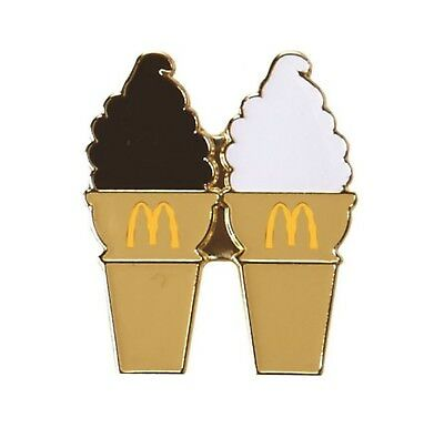 McDonalds Cute Lapel Pin Ice Cream Cone Vanilla and Dipped Chocolate Cones - New