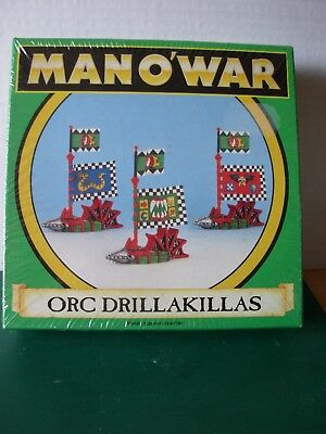 Fantasy Man o'War Orc Drillakillas Flagship in Original Box Sealed Rare OOP