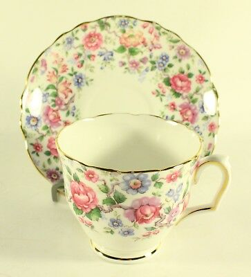 Vintage Fine Bone China Crown Staffordshire Cup and Saucer England