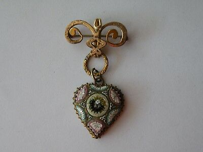 Antique or Vintage Italian micro mosaic heart brooch pin