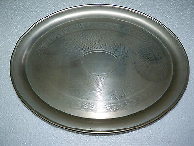 Antique 1891-1930 Berndorf Austria Alpacca Guilloche Oval Platter Tray Marked