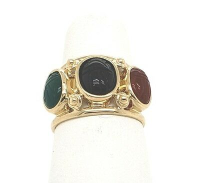 Egyptian Scarab carved Beetle 3 genuine gemstones 14k yellow gold ring sz 6 NWOT