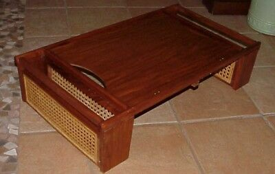 Vintage Mid Century Modern 1976 Teak Wood & Woven Cane Bed/butler Serving Tray