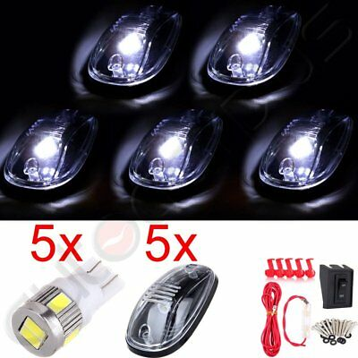 5pcs Cab Clear Marker Clearance Lamp w Xenon White LED + Wiring Switch For Dodge