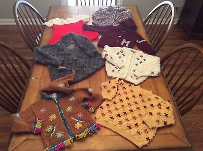 7 Piece Lot Vintage mid century Girl hand knit Sweaters cardigans tunics 4 5T