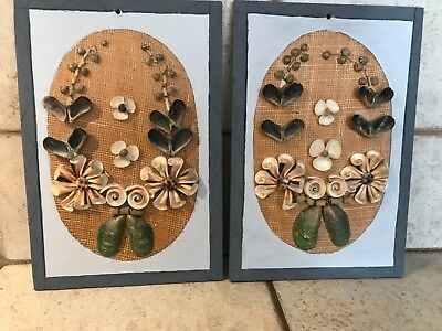 VINTAGE Seashell Hanging Wall Art Picture HAND MADE From the Philippines