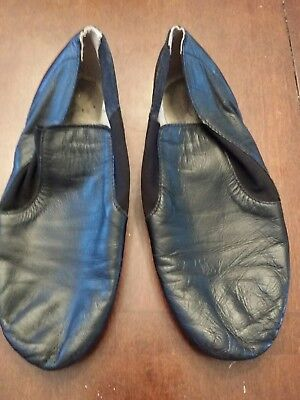 Girls leather slip on Black Jazz Shoes Size 4.5 youth
