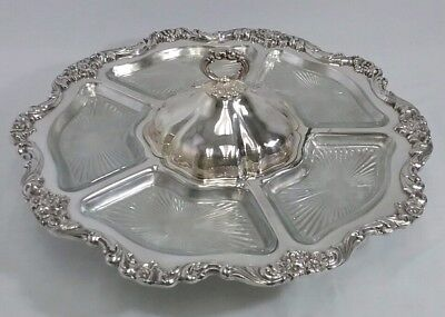 "Wallace Silver Plated Lazy Susan Large 19 1/2"" Serving Tray w/ Glass Inserts"