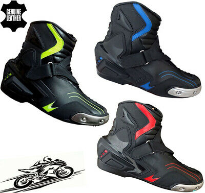 MENS HiViz / RED /  BLUE & BLACK MOTORBIKE MOTORCYCLE RACING BOOTS SPORTS SHOES